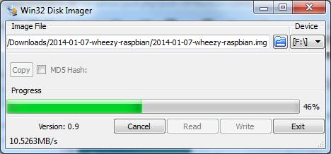 Win32 Disk Imager - das erstellen der Boot SD-Karte für den PI braucht etwas Zeit