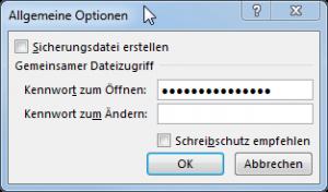 Allgemeine Optionen Dialog mit Passwort