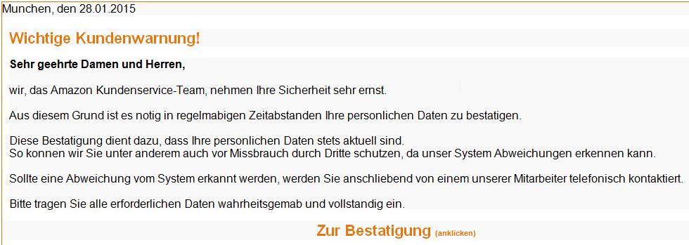 Phisihn Email: Ihr Kundenkonto wurde aus Sicherheitsgrunden gesperrt - Nachricht (HTML)