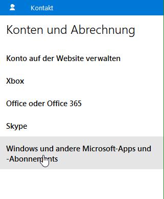 Windows und andere Microsoft-Apps und - Abonnements